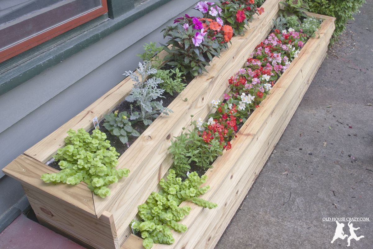 Build A Custom Two Tiered Flower Planter Diy Add Curb Appeal Garden Planters Diy Flower Planters Diy Flower Planters