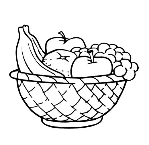 Food Fruit In Basket Coloring Pages