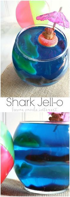 Get ready for Shark Week or celebrate a Shark birthday party with these fun Shark Jell-O bowls filled with gummy sharks! This is a great summer snack for kids! #sharkweekfood