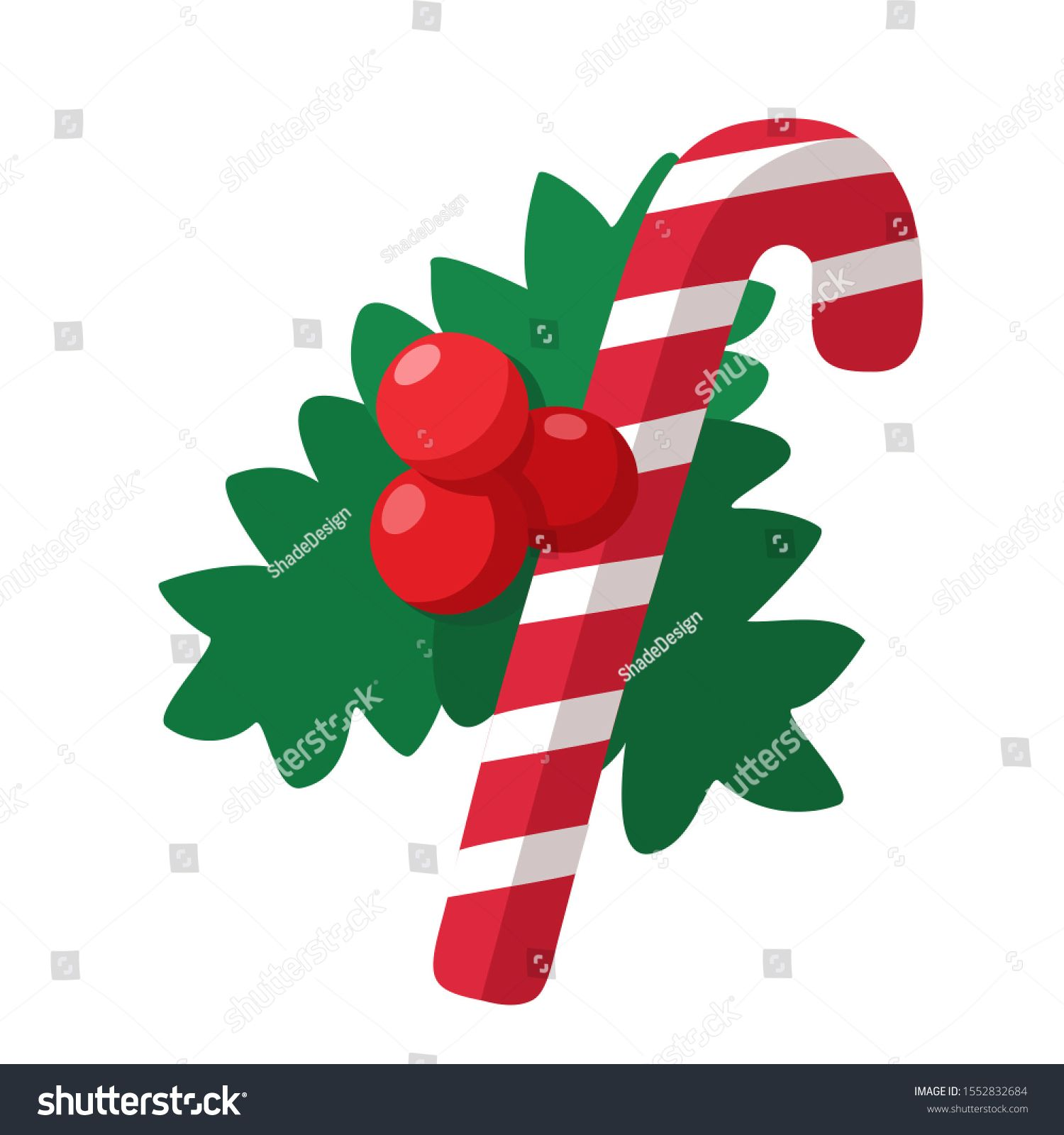 Vector Christmas candy cane icon. Image stripped Christmas