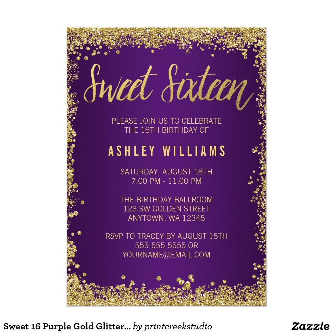 Gold color cardstock paper 5x7 - Sweet 16 Purple Gold Glitter Birthday 5x7 Paper Invitations Artwork Designed By Printcreekstudio