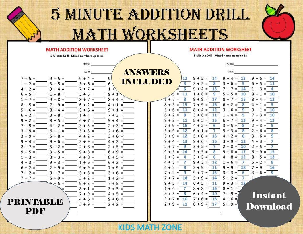 Addition 5 Minute Drill H 10 Math Worksheets With Answers Pdf