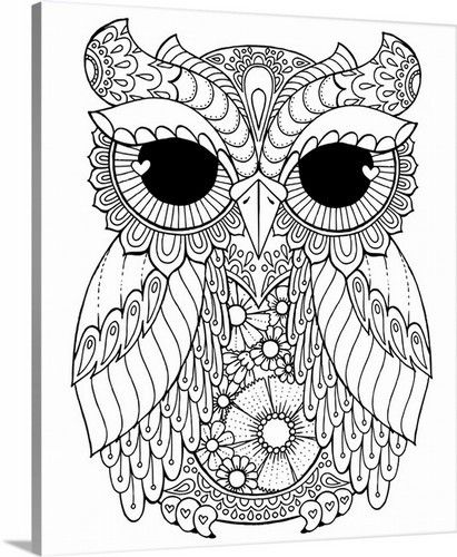 Lovely Owl Coloring Canvas Wall Art By Hello Angel Available For Purchase At Canvasondemand Com Owl Coloring Pages Mandala Coloring Pages Coloring Books
