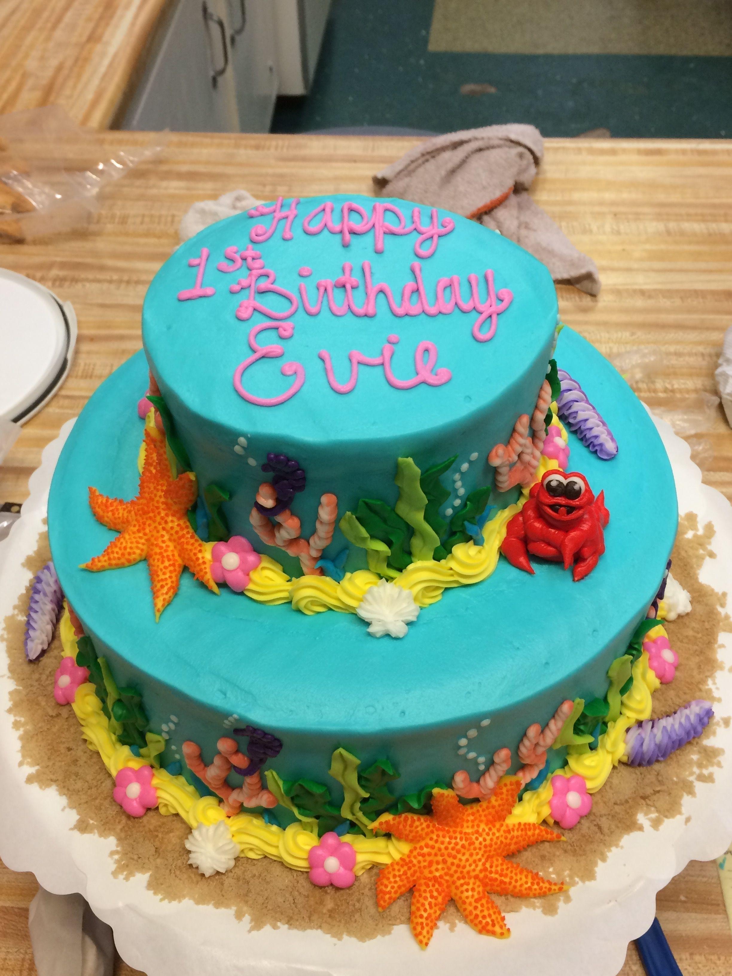 Decorated Birthday Cake With Under The Sea Theme Westhampton Pastry Shop Richmond VA Underthesea Buttercreamcake