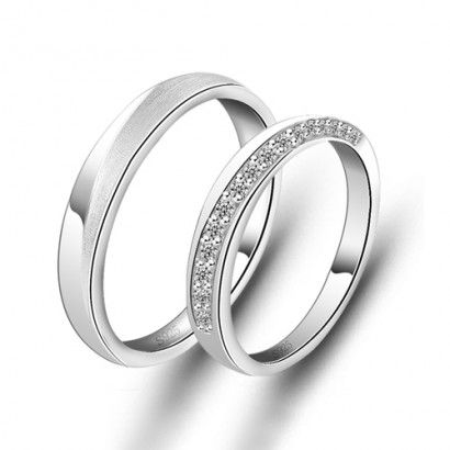 New Simple Design 925 Sterling Silver Plated White Gold Cubic Zirconia Rings For Lovers