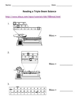 Reading A Triple Beam Balance Practices Worksheets Informal Assessment Guided Practice