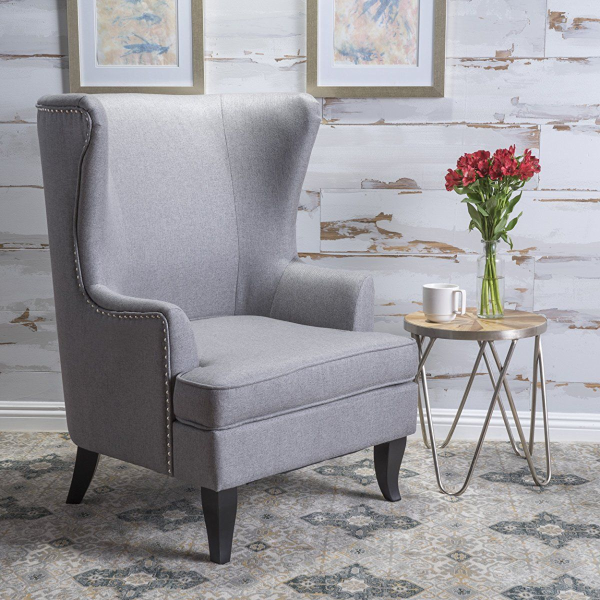 High Back Grey Fabric Wing Chair Living Room