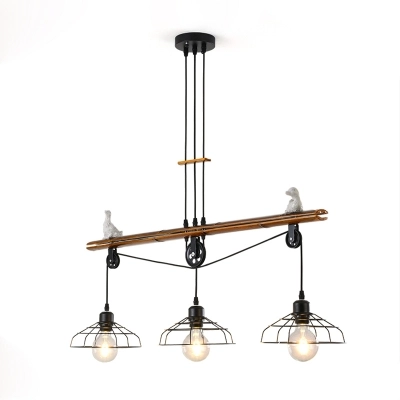 Black Cage Island Pendant Asian Iron And Bamboo 3 Light Pendant Lights With Pulley For Bedroom In 2020 3 Light Pendant Pendant Lighting Island Pendants