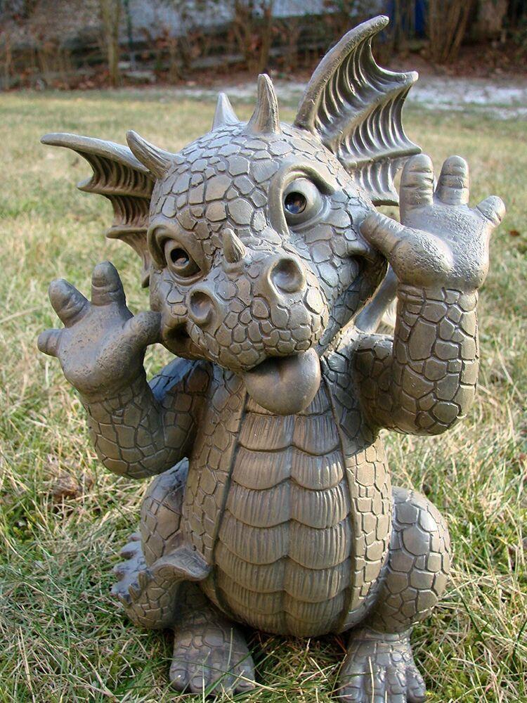 Whimsical Garden Dragon Making Funny Faces Statue 10 25 H Taunting Baby Dragon Dragon Decor Baby Dragon Dragon Garden