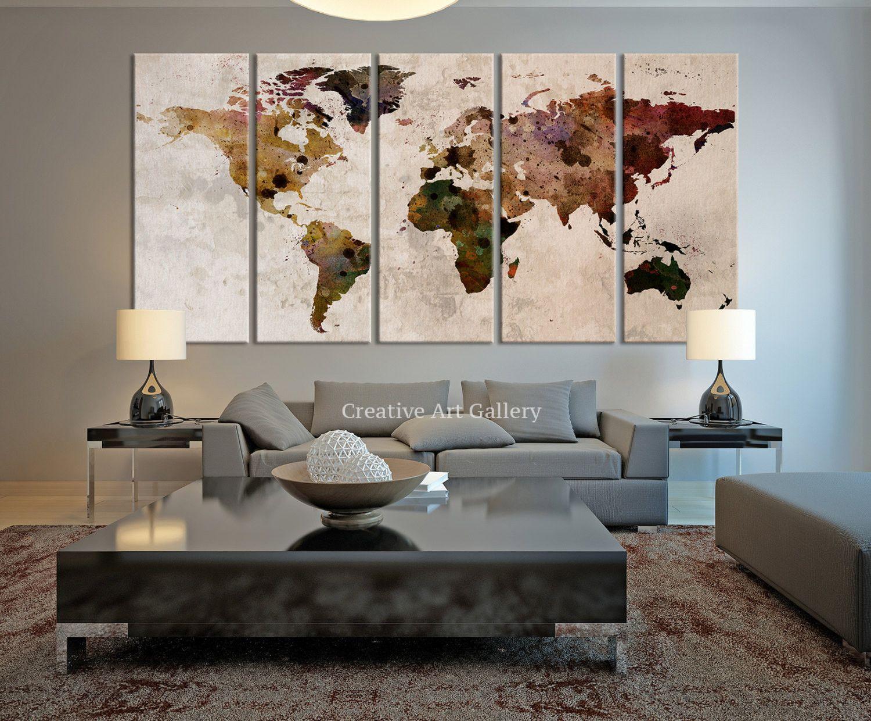 Map Art - Large Canvas Print Rustic World Map, Large Wall Art ...