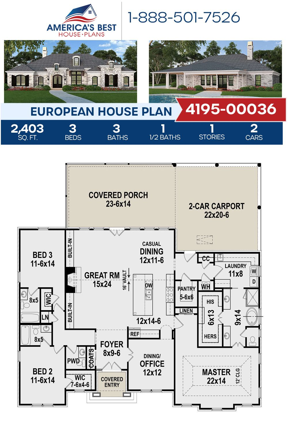 House Plan 4195 00036 European Plan 2 403 Square Feet 3 Bedrooms 3 5 Bathrooms Cottage Floor Plans House Layout Plans Floor Plans Ranch