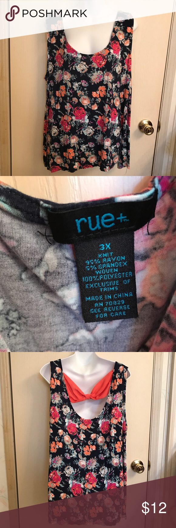 3x) rue 21 plus size floral tank top with bow *brand: rue 21 plus