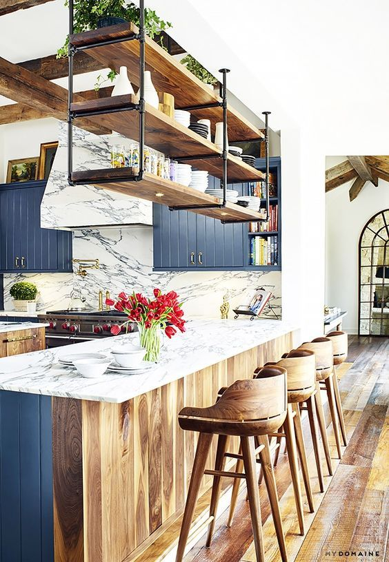 Rustic and Industrial Kitchen in Blue | muebles | Pinterest ...