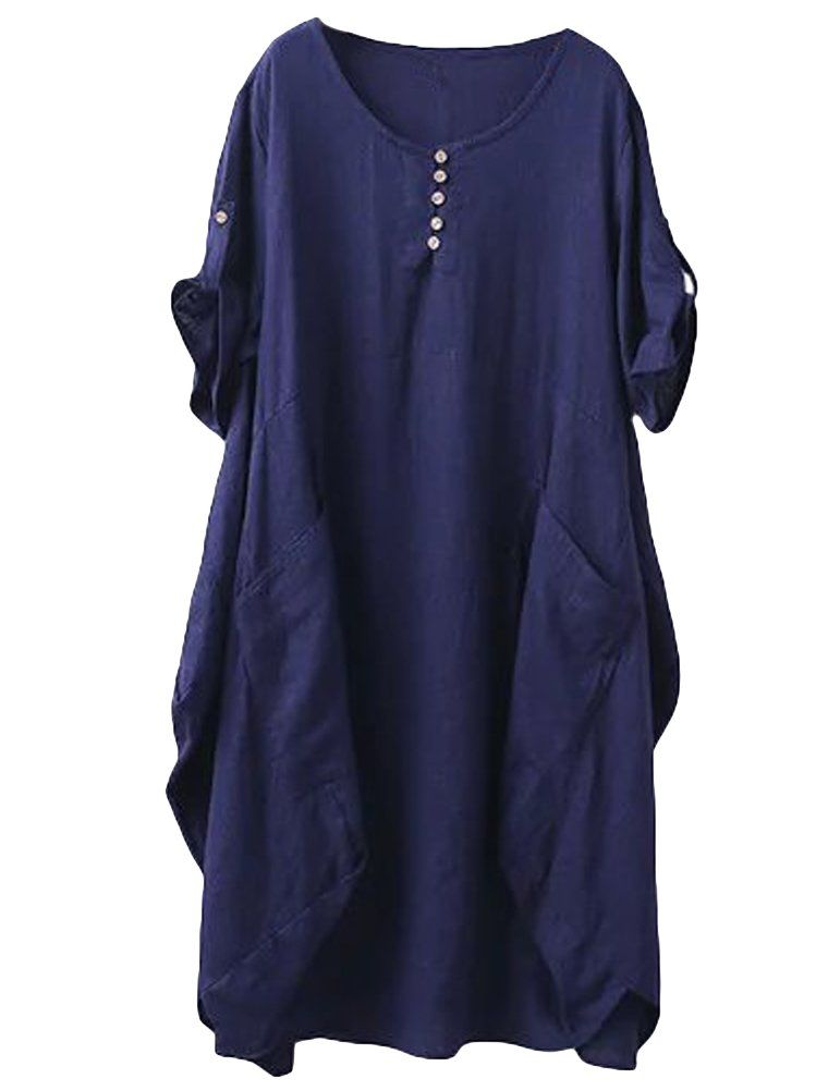 Women Dresses Roll Up Sleeve Loose Casual Solid Color Midi Tunic Dress with Pockets