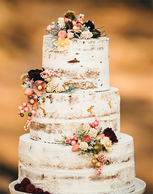 Wedding Cake Rustic With Flowers And Berries