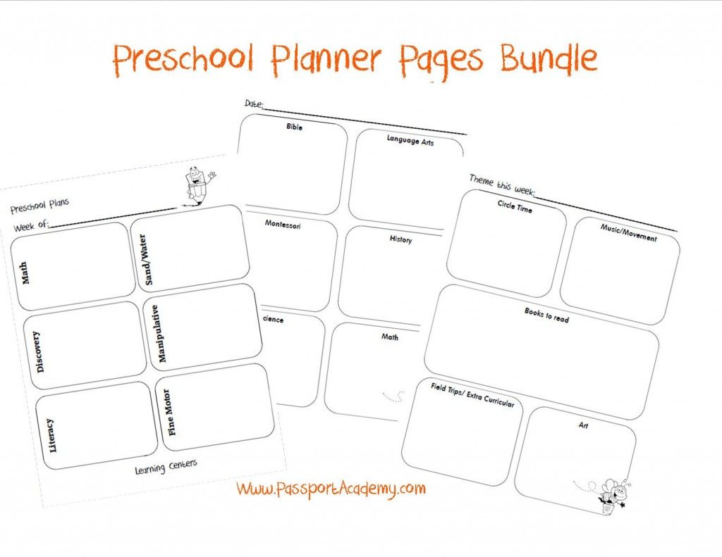 Preschool Lesson Planner Pages Via PassportacademyCom