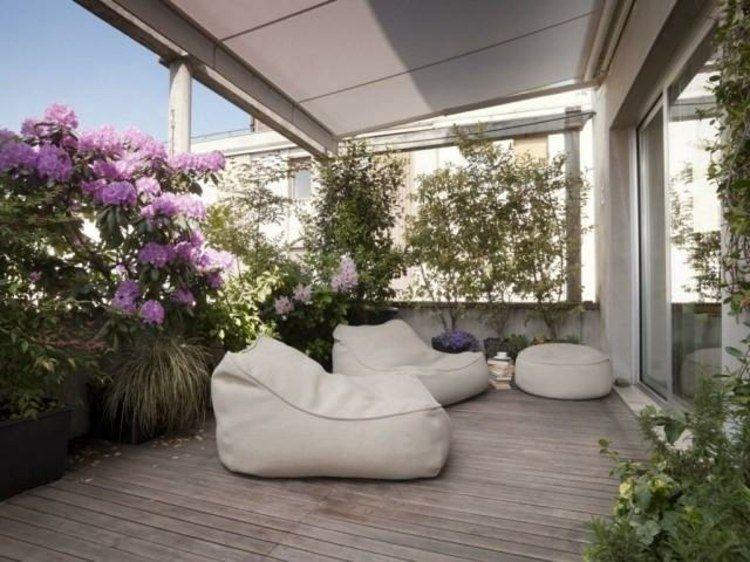 Terrasse gestalten mit Olivenbaum und Sitzkissen Terrasse - markisen fur balkon design ideen