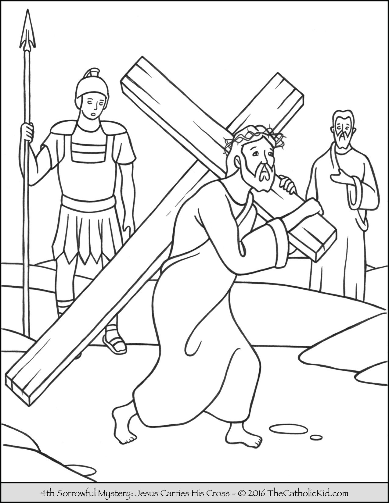 Sorrowful Mysteries Rosary Coloring Pages Jesus Carries His