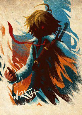 Photo of Sin of Wrath Anime & Manga Poster Print   metal posters – Displate