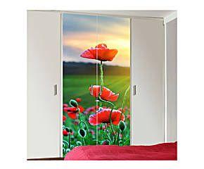 Adesivo decorativo 1 anta per armadio in vinile Poppies