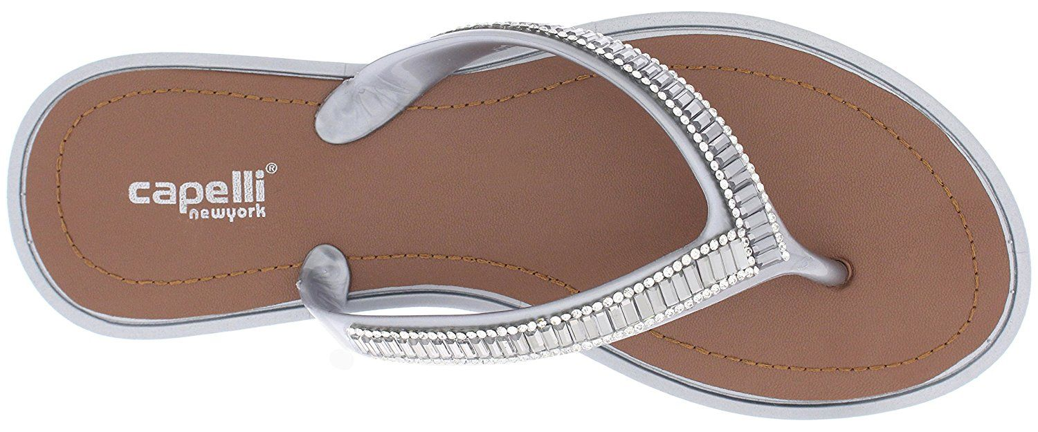 fb0a10128c5 Capelli New York Ladies Fashion Flip Flops With Gem and Rhinestone Trim      For more information