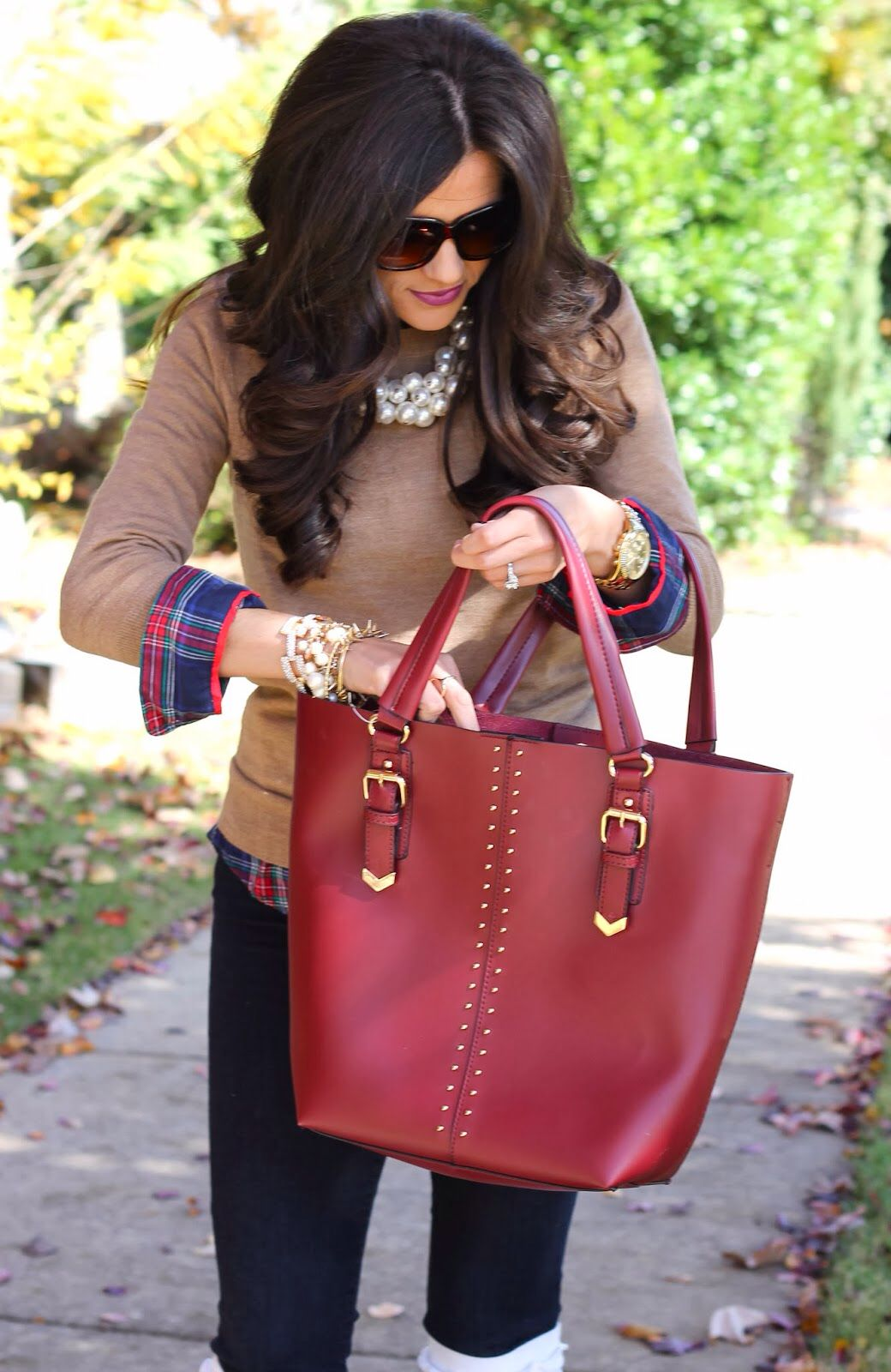 Big flannel outfits  fall winter fashion with layers pearls and plaid  Style me