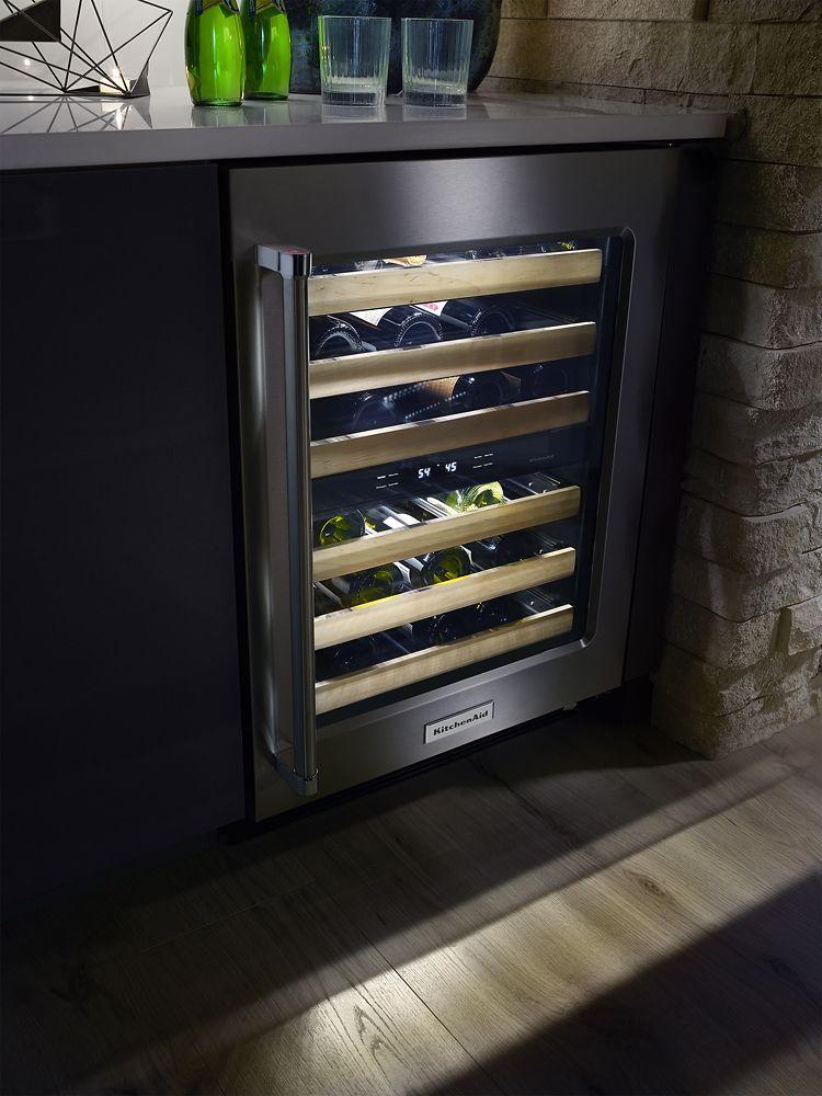 Kitchenaid 46bottle wine cellar stainless steel