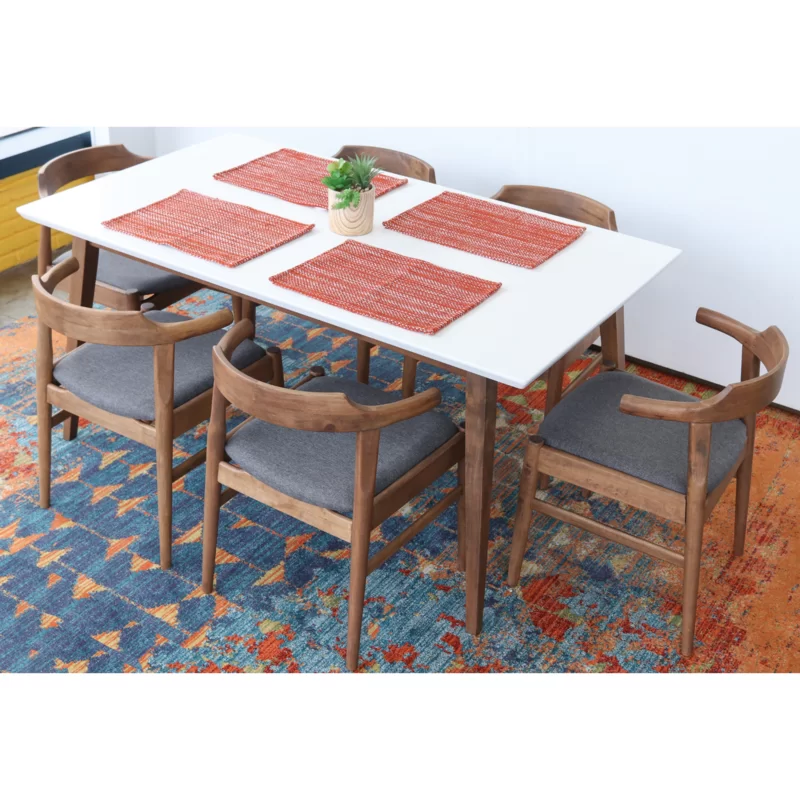 George Oliver Carlyle 7 Piece Solid Wood Dining Set Wayfair Solid Wood Dining Set Solid Wood Table Tops Solid Wood Table