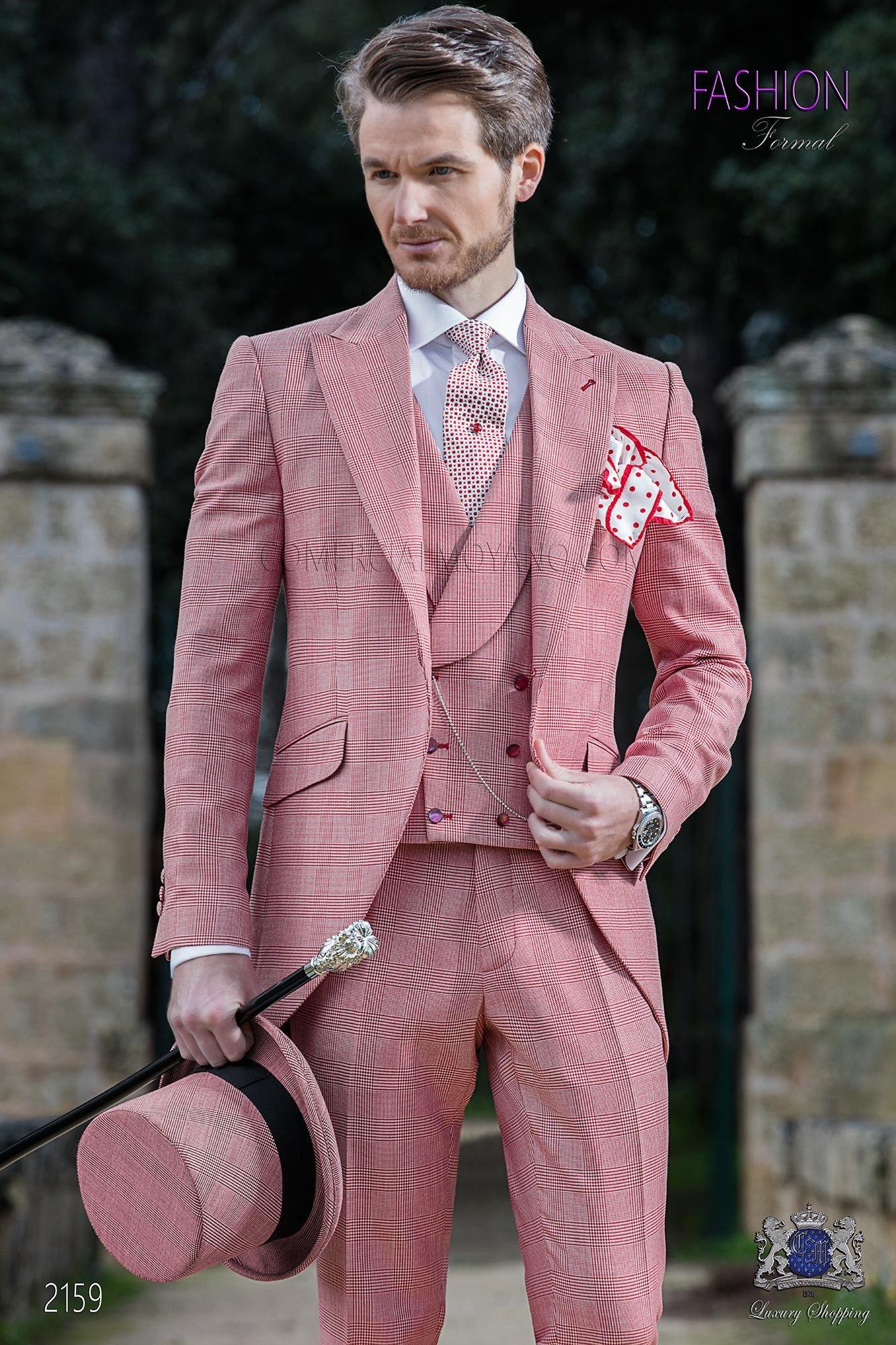 Traje de novio semilevita de novio príncipe de gales rojo ...
