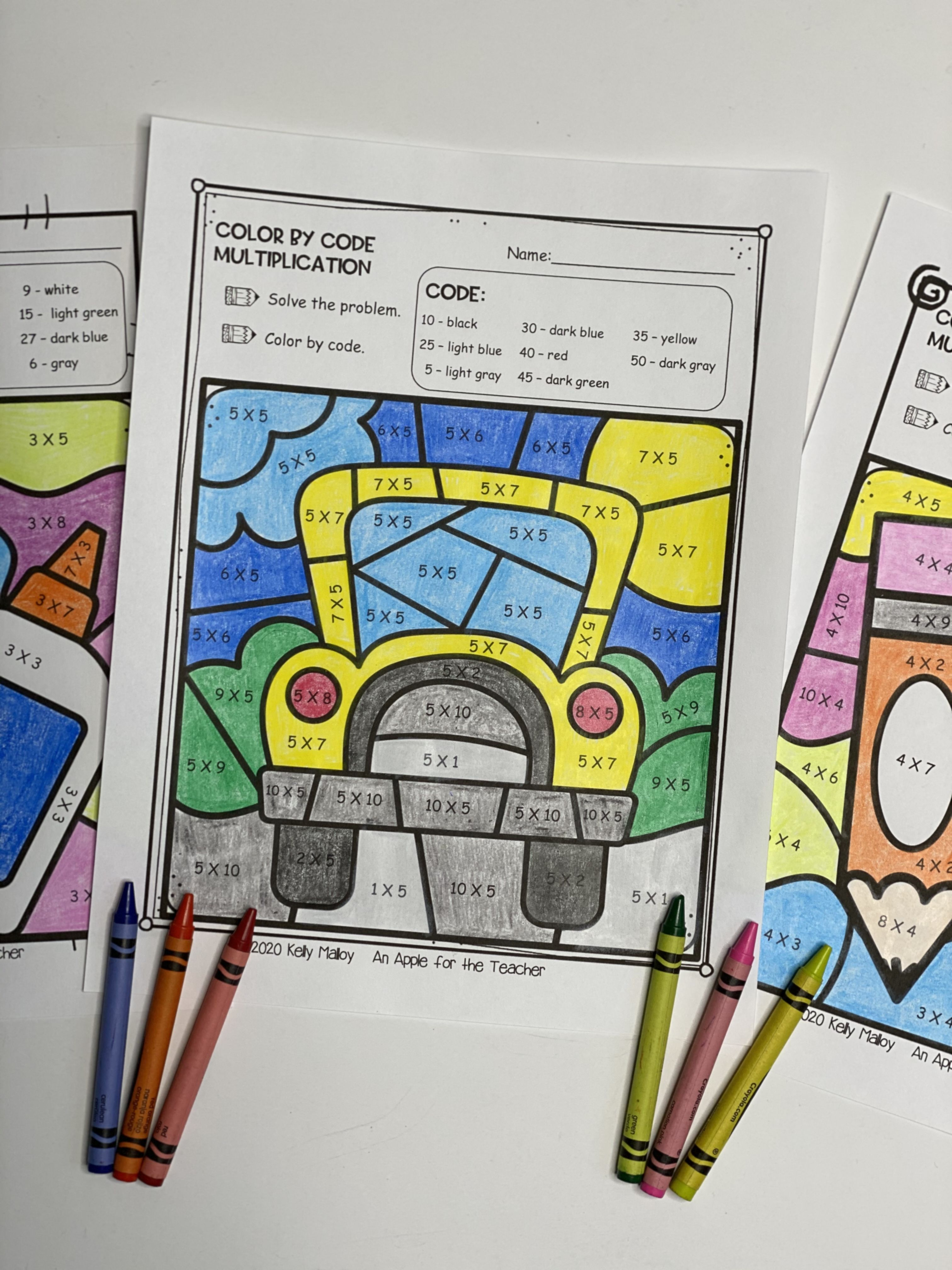 Back To School Color By Number Worksheets In