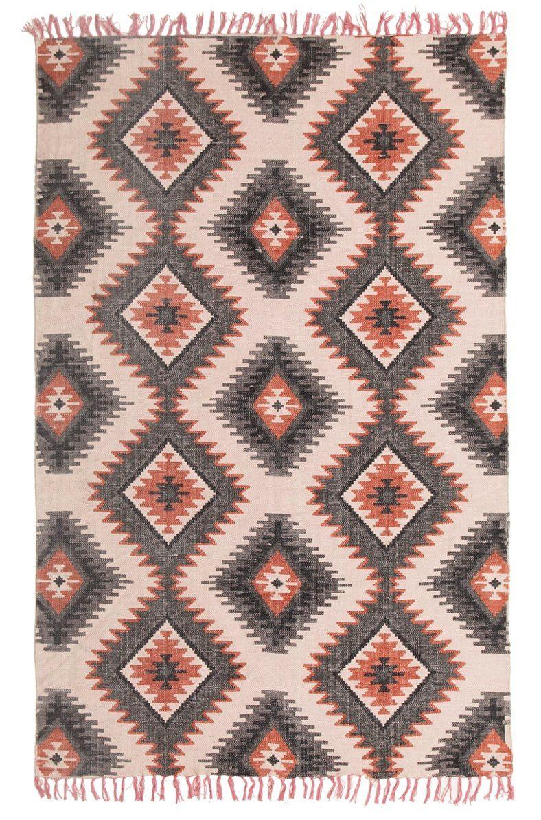 Gwete Printed Orange Tribal Cotton Rug