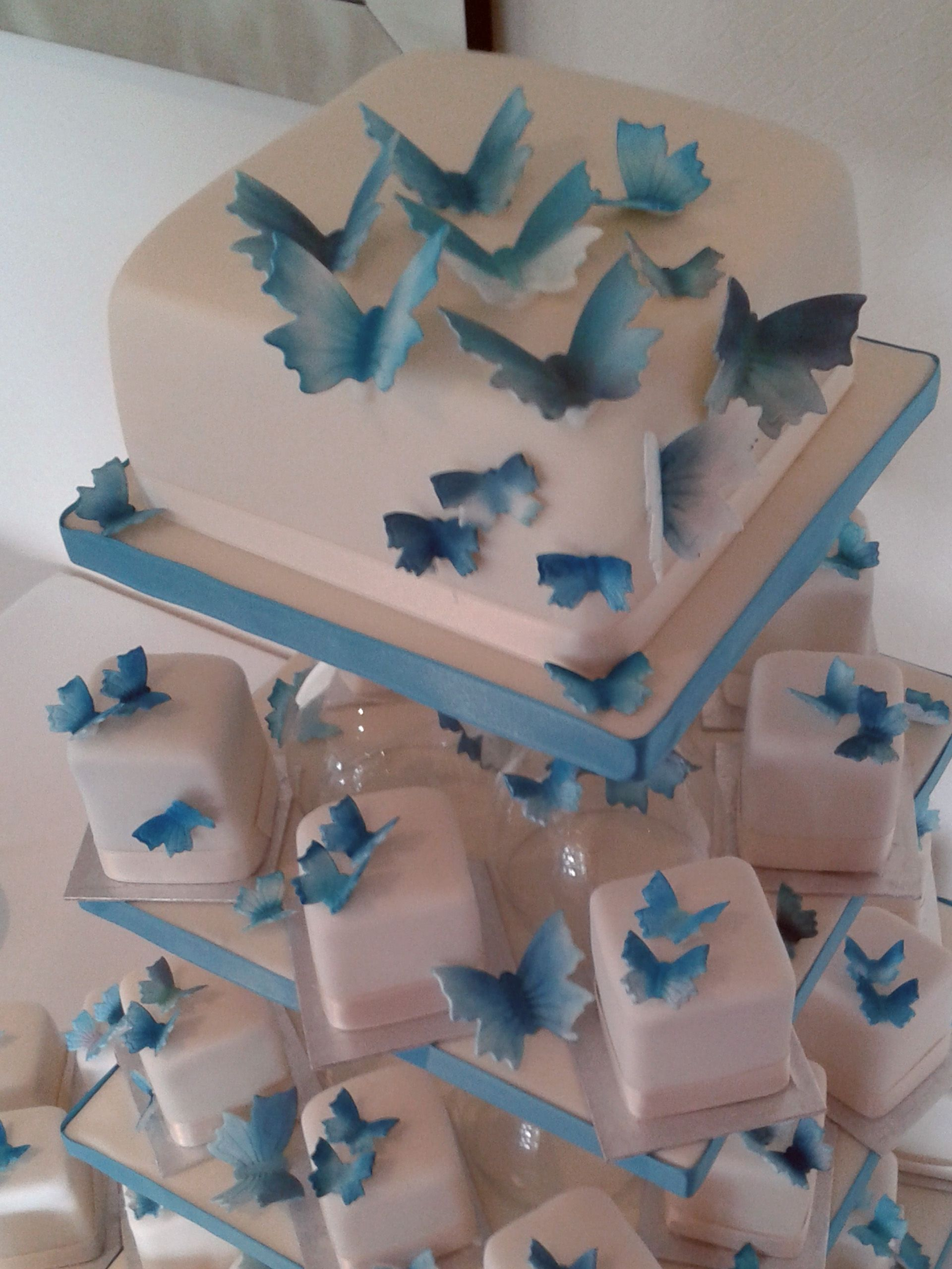 Teal blue butterfly wedding minis square mini cakes