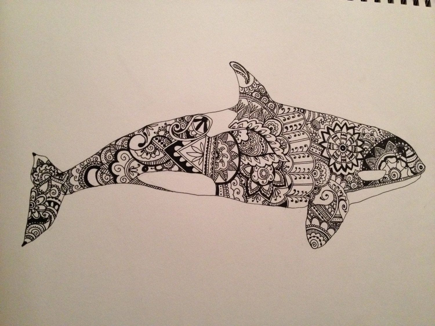 Hand drawn Illustration of Orca / Killer Whale Featuring Henna ...