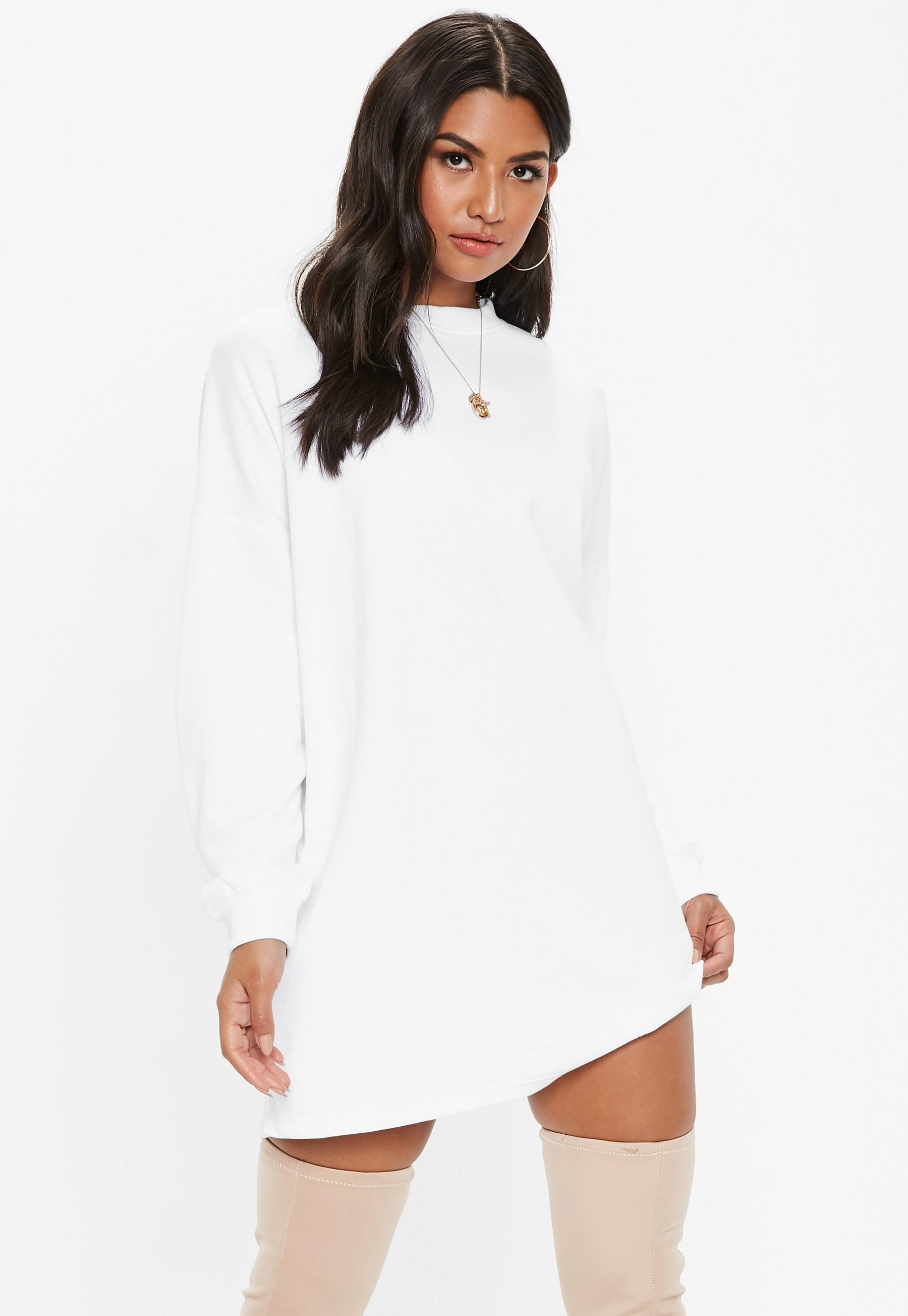 White Basic Sweater Dress Missguided Sweater Dress Oversized Sweater Dress White Oversized Sweater [ 2607 x 1800 Pixel ]