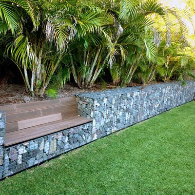 Muro de gabi o com banco fatah jardins amenagement - Muros de jardin ...