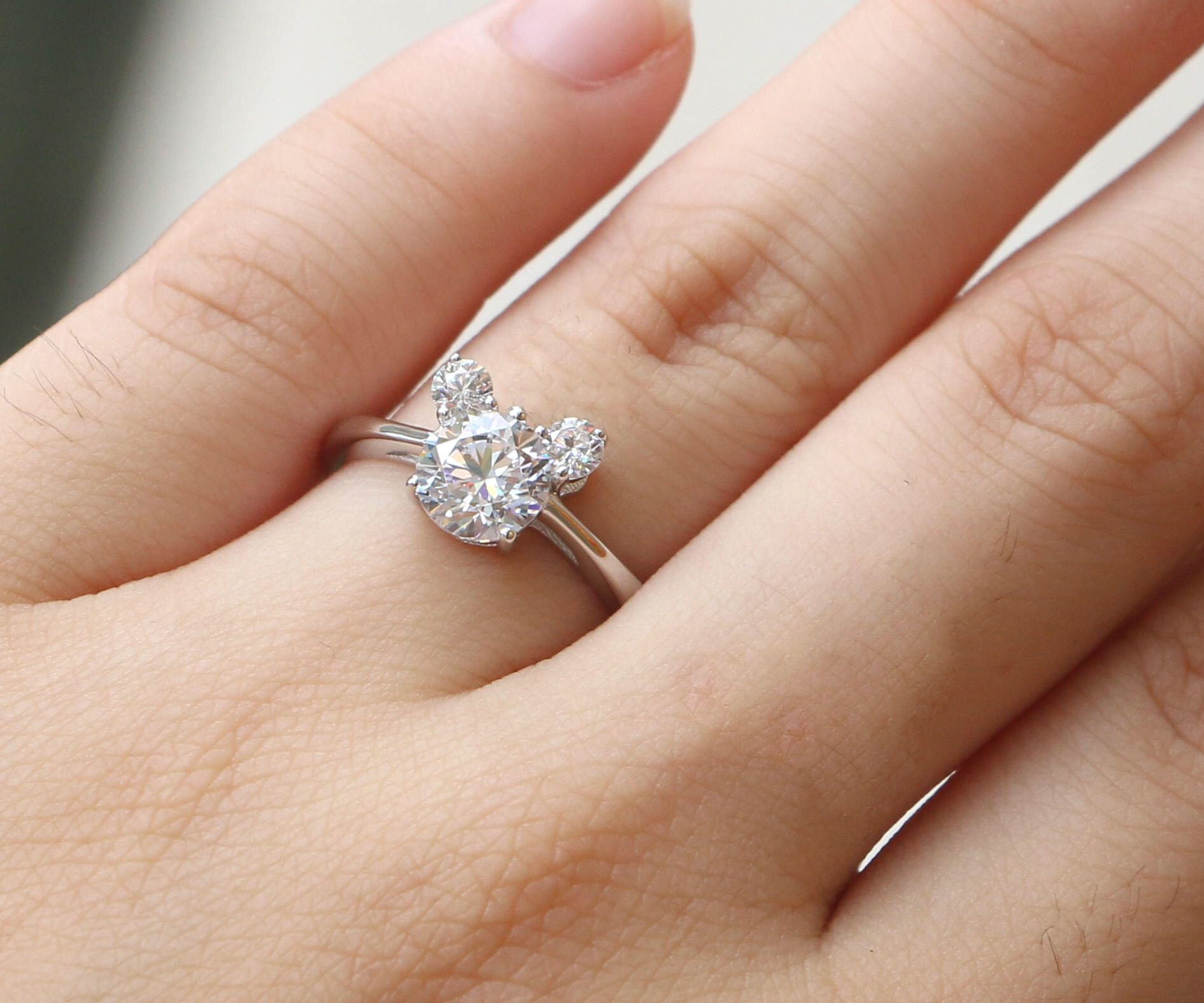Unique Engagement Ring Micky mouse ring 3 stones ring Wedding