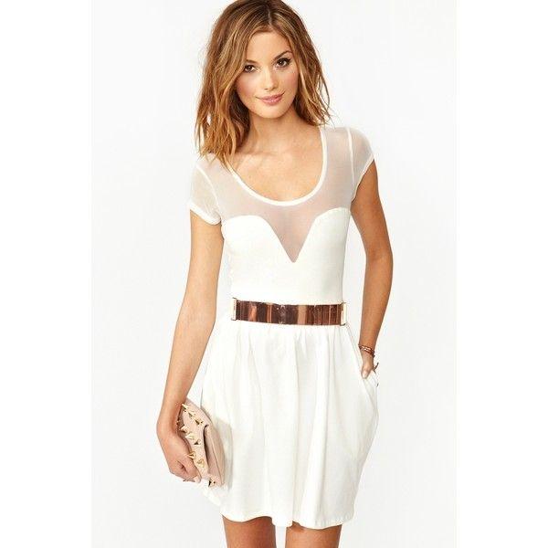 Mesh Skater Dress - White ($48) ❤ liked on Polyvore