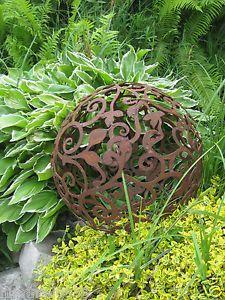 edelrost-barockkugel-50-cm-kugel-rost-eisen-metall-deko-garten, Garten und Bauen