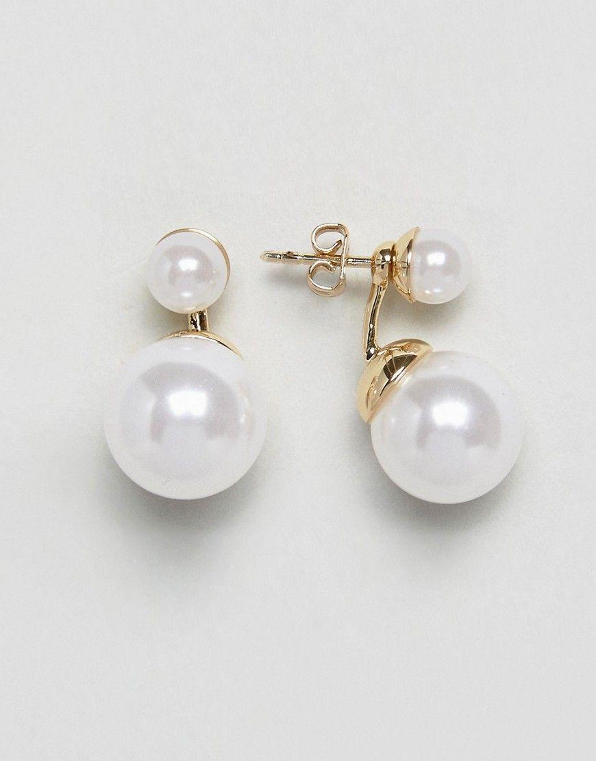 Ted Baker Deed Double Drop Pearl Earrings Gold Tedbaker Double Pearl Earrings Pearl Earrings Gold Pearl Earrings