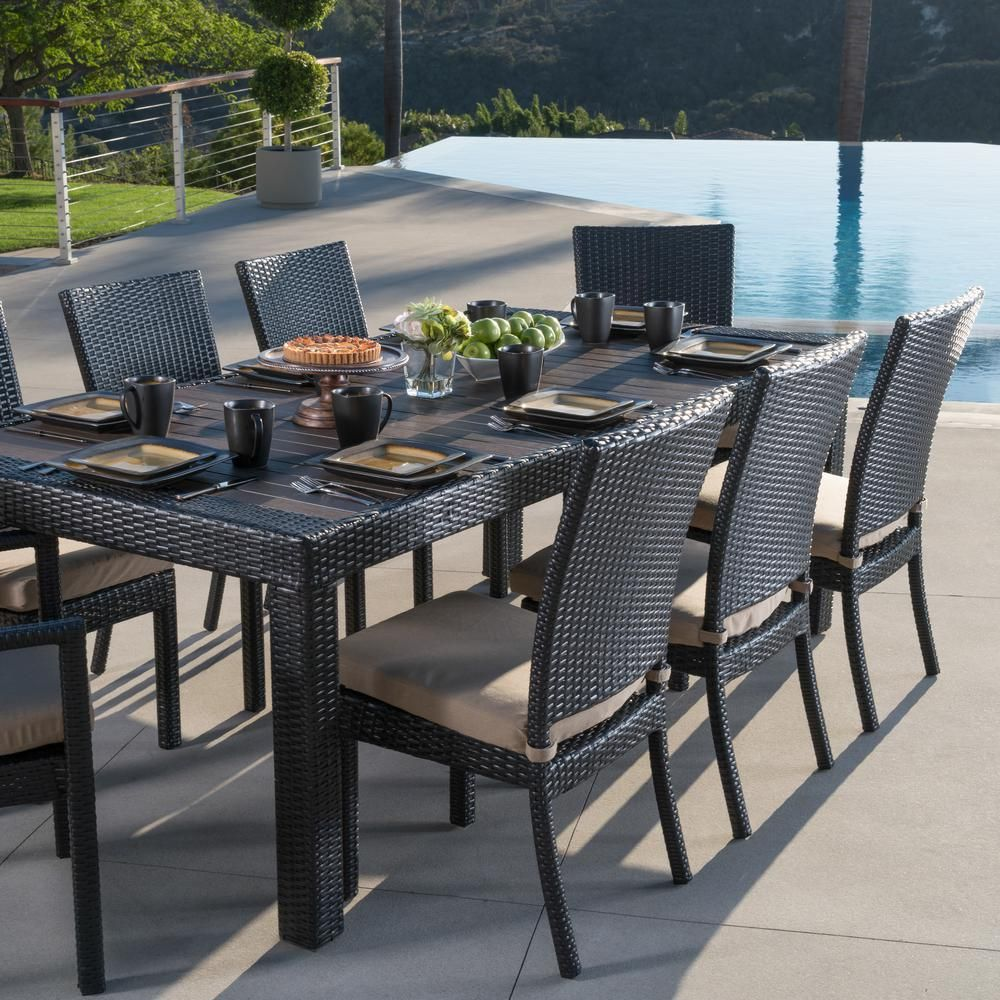 Rst Brands Deco 9 Piece Patio Dining Set With Maxim Beige Cushions