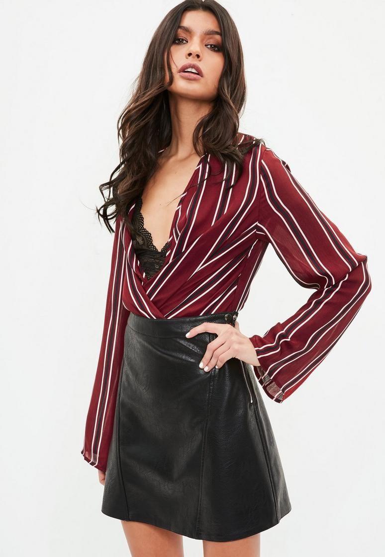 a87f83b02a Burgundy Striped Drape Plunge Bodysuit