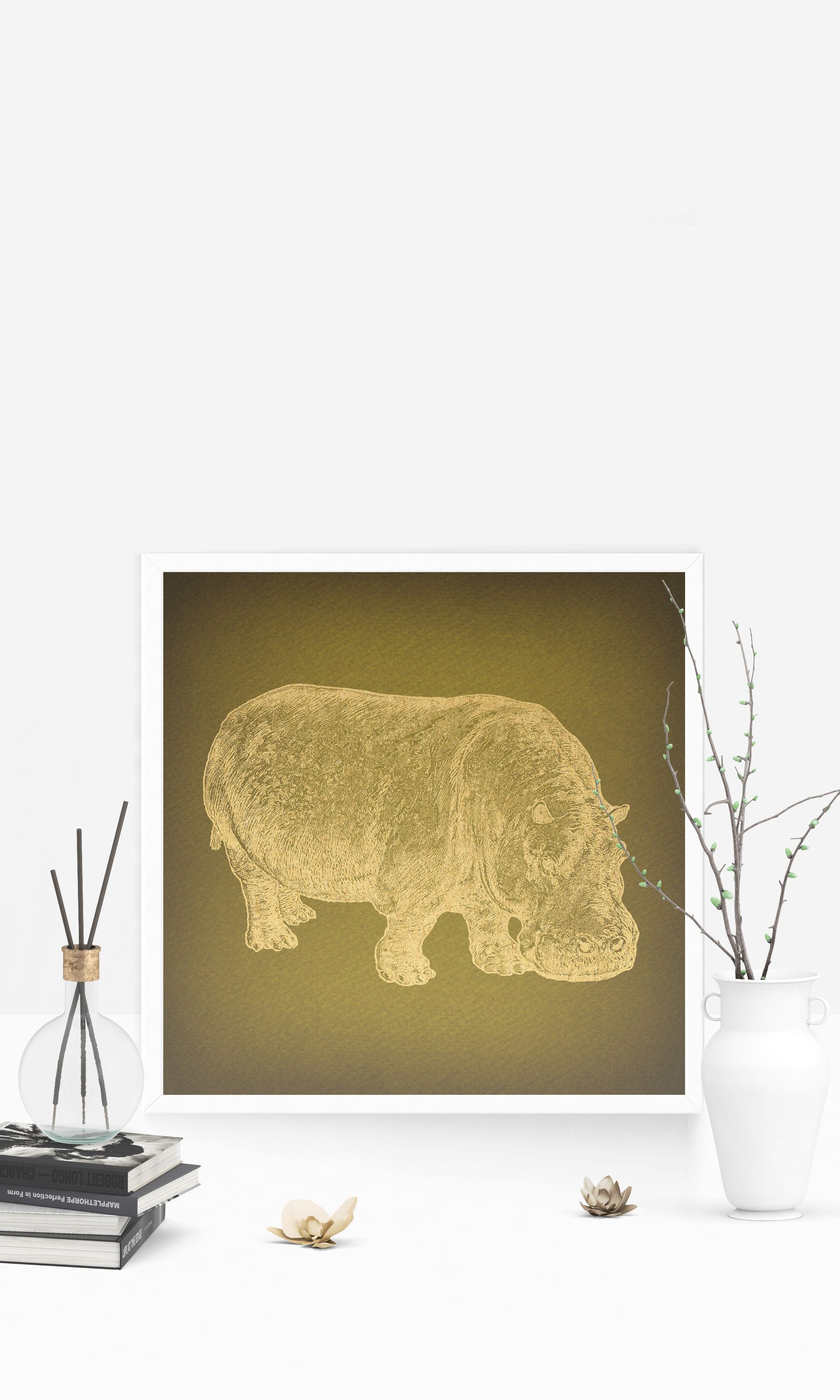 Classic Vintage Hippopotamus Print for Wall Art & Home Decoration ...