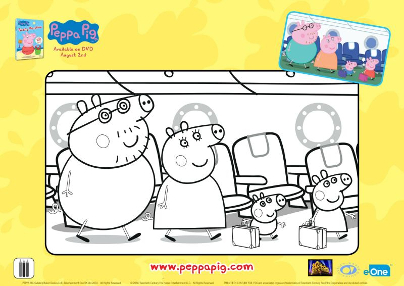 Peppa Pig Vacation Coloring Page