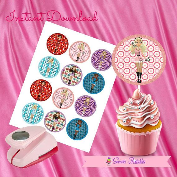 """Retro Doll Cupcake Toppers,Retro Doll Gift tags,Retro Doll Instant Download, Retro Doll Party Favor, Printable Labels, 2""""inch"""