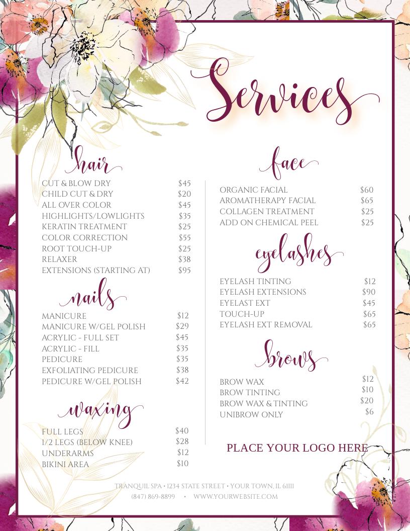 Spa Menu Salon Menu Custom Menu Diy Services Price List Nail Spa Menu Template Spa Menu Template Hair Services Menu Salon Services Salon Services Menu Card Design Salon Menu