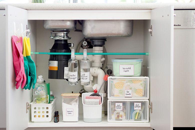 How To Organise Under The Kitchen Sink Cupboard Blue Pine Kitchen