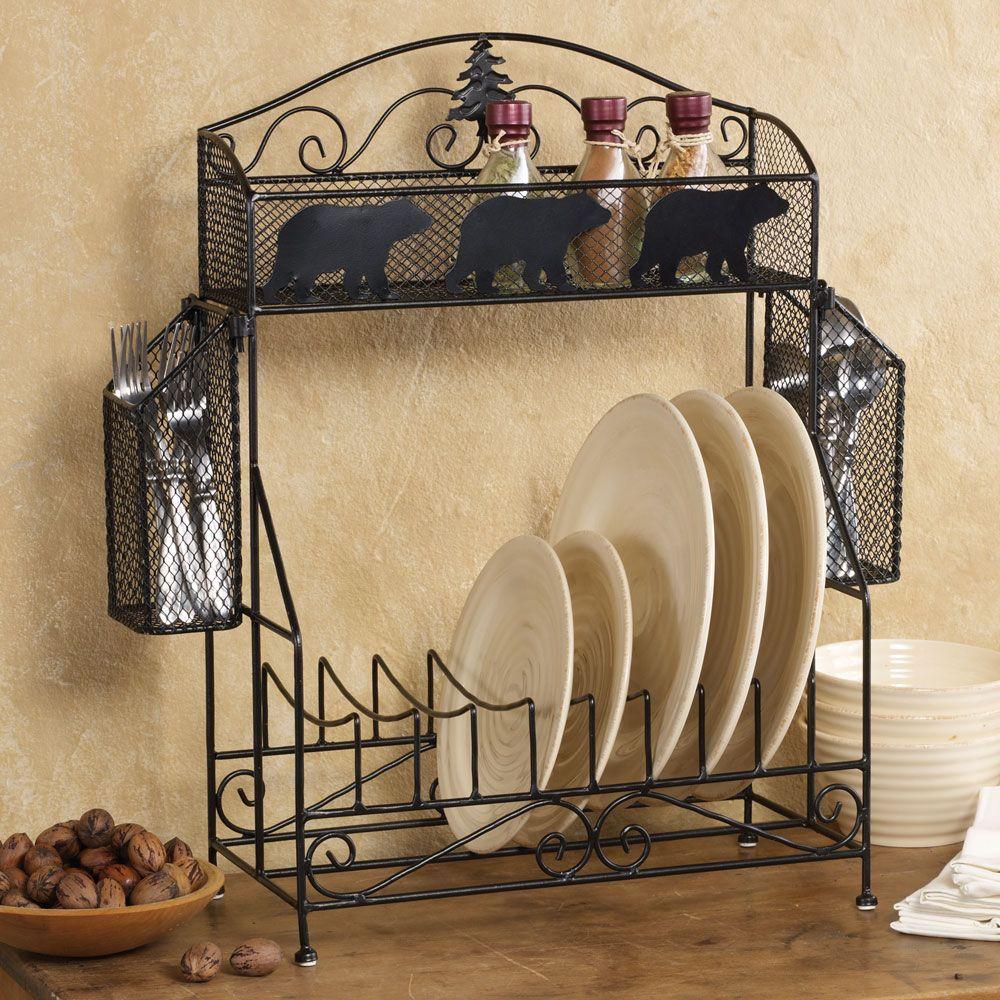 Bear Kitchen Decor Bear Dinnerware Kitchen Rack Rustic Kitchen Design Log Home