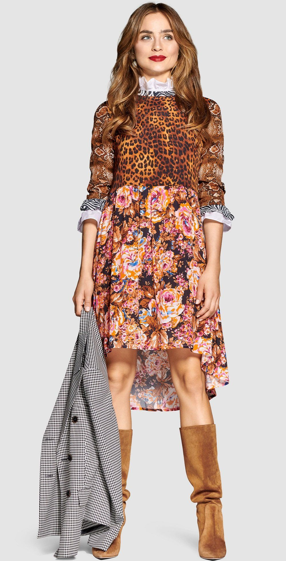 Print Lover Rich Royal Looks Shop By Look Rich Royal Vokuhila Kleid Kontrastfarbe Mustermix