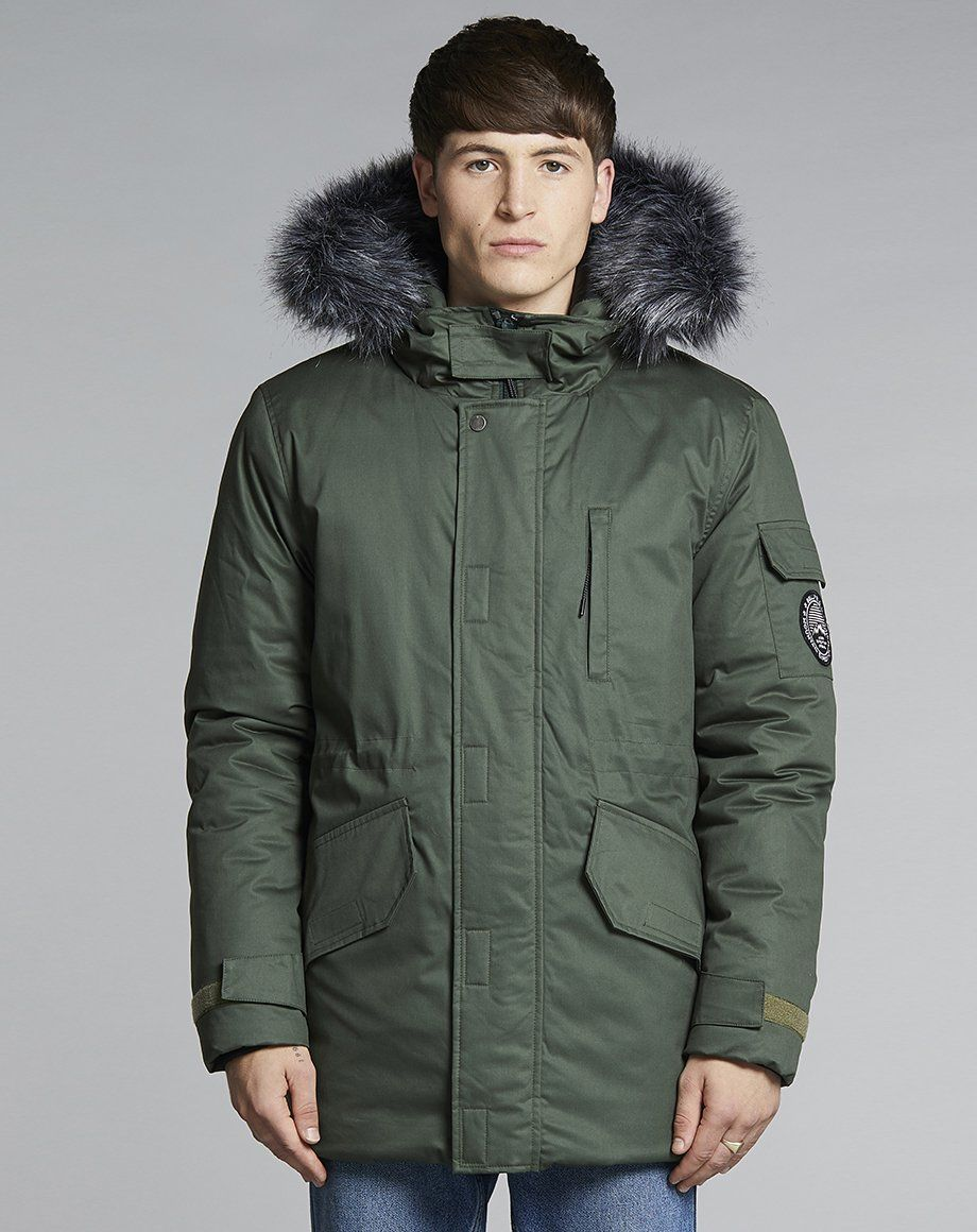Bellfield Tethra Men's Parka Coat in Navy Bellfield Clothing