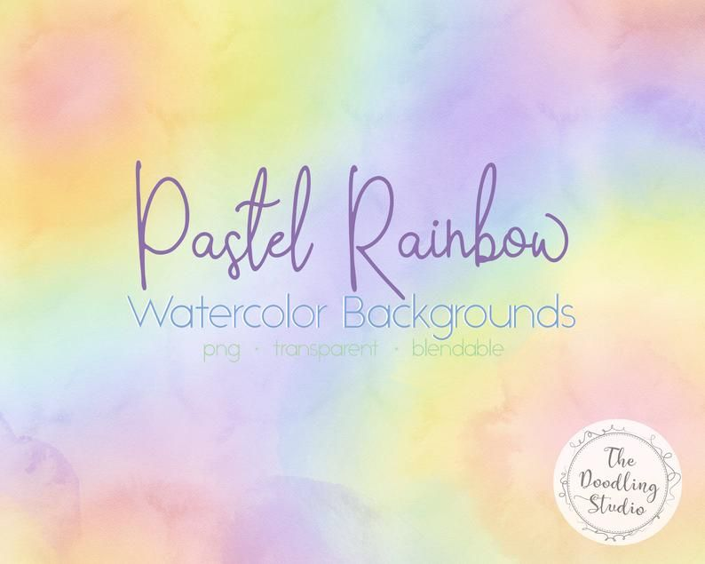 Pastel Rainbow Watercolor Backgrounds 12 Backgrounds Png Etsy Watercolor Background Pastel Rainbow Rainbow Clipart